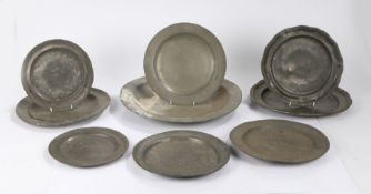Pewter, to include seven 18th/19th Century plates and two 19th Century chargers, (9)
