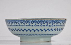 """18th Century tin glazed bowl, the centre of the bowl with a """"Kangxi"""" style leaf with further"""