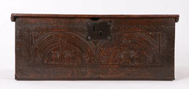Charles I oak and elm boarded box, West Country, circa 1630, the front carved and punch-decorated