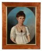 Early 19th Century British School, circa 1806, portrait of a lady, label to the reverse Ann Dorr 1st