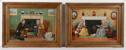 """Pair of charming early 20th Century paintings, """"Old Friends"""" the first with two elderly gentleman"""