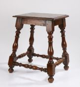 Late 17th Century French Walnut joint stool, the rectangular top above out swept turned legs