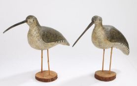 Pair of large early 20th Century decoy Curlew birds, the long removable beaks that plug into the