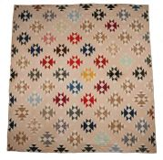 American patchwork quilt, Flying geese pattern in various colours, 191cm x 202cm