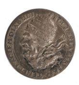 George Bower, 1678, 17th Century medallion with the bust of Sir Edmundbury Godfrey, right, hair