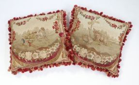 Pair of 18th Century cushion covers, the first depicting a reclining cow and calf with foliate
