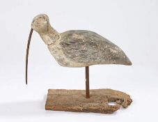 Early 20th Century Shorebird decoy, painted in white and grey with feathers to the back and sides, a