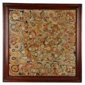 19th Century embroidered panel, the large bright panel with a central design of a cluster of