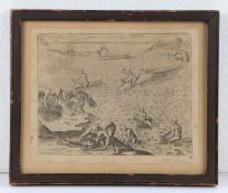 Rare 16th Century whale hunting engraving, by Theodore de Bry, Harpooning Whales, circa 1590,