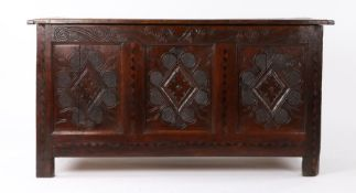 Charles II inlaid oak coffer, Leeds and the surrounding area, Yorkshire, circa 1670, having an end-