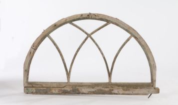 19th Century window/doorway arch, the wooden arch with Gothic arches to the interior, 111cm wide x