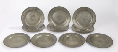 Matched set of ten pewter plates, London. with the touch mark of Stynt Duncombe to nine of the