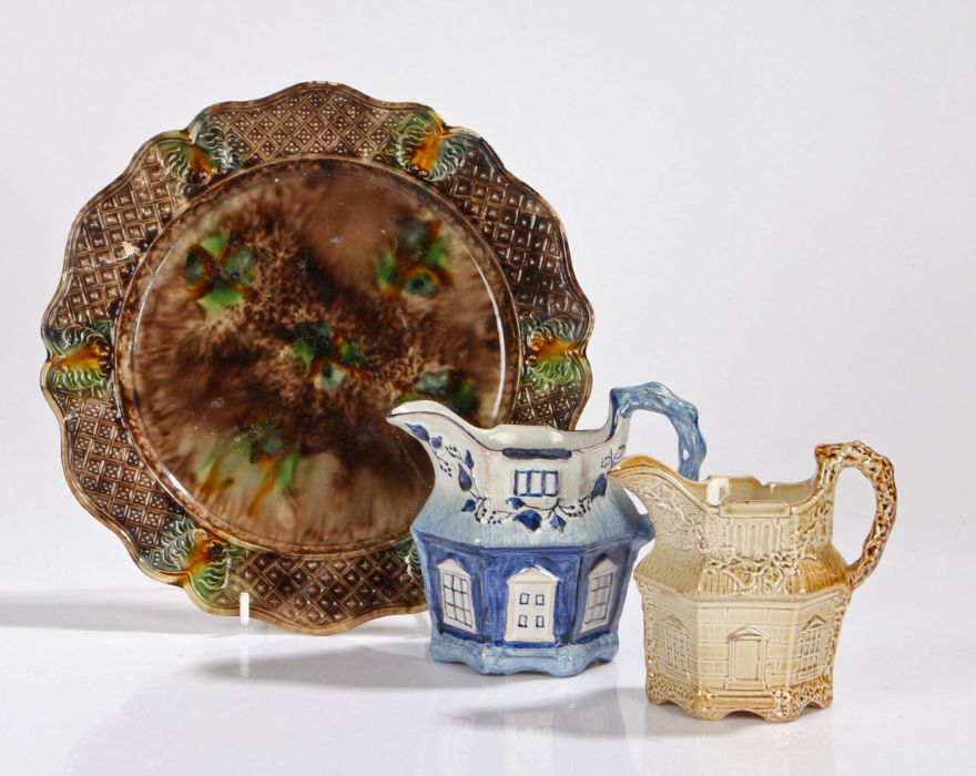 Pottery, to include a Delft jug in the form of a cottage in blue and white, SB to the base, 10cm