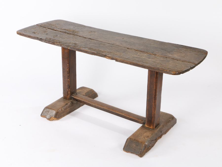An 18th Century and later Tavern type table pine and elm table, the rectangular top with rounded - Image 2 of 2
