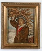 19th Century silk and woolwork picture, of a figure in a long jacket carrying firewood on his head