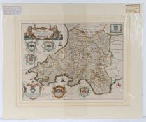 """Richard Blome, coloured map engraving, South Wales, 1673, """"A generall mapp of South Wales wherein"""