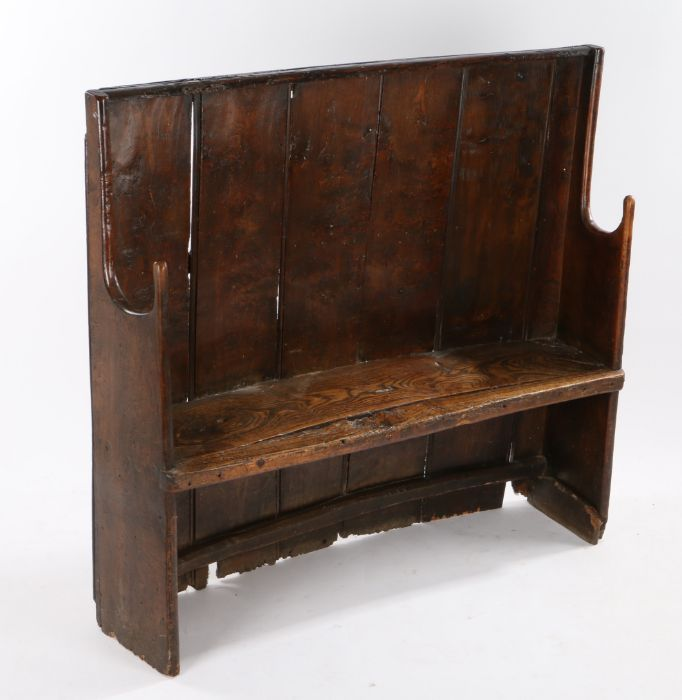 Charming George III boarded elm bow back settle, West Country, circa 1800, of small proportions, the - Image 2 of 12
