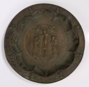 Bronze copy of the Byzantine Empire paten, the central medallion depicting the Crucifixion is