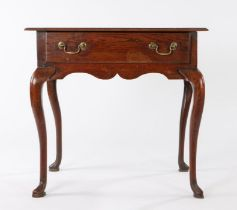 George III oak side table, circa 1780, the rectangular top above a frieze drawer and slender