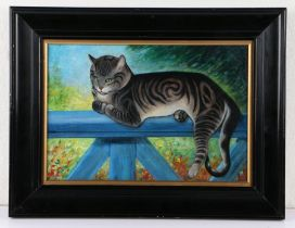 British early 20th Century primitive school, F. Paton, a cat resting on a blue fence, signed oil