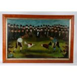 British Folk art, a naive picture depicting a Cock Fight, the two cockerels to the centre of the