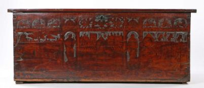 16th century cedar or cypress or cedar boarded and penwork decorated chest, North Italian, circa