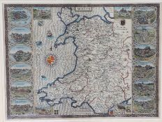 John Speed, coloured map engraving, Wales, 1610, with cartouches to the borders depicting Beaumaris,