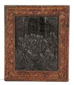 Guglielmo della Porta (c.1500-1577)a pictorial iron panel, The entombment of Christ, framed, 28cm x