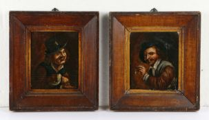 Follower of David Teniers The Younger, (1610-1690) Two portraits, the first of a man smoking a