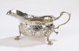 George II Irish silver sauceboat, Dublin circa 1730, makers mark only for William Williamson I, with