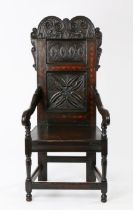 Charles II oak and inlaid panel-back open armchair, circa 1670, the high two-panel back having a