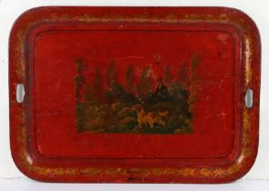Large 19th Century Toleware tray, with a spaniel hunting while his owner stands behind in foliage on