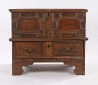 17th Century and later oak and elm box top chest, the hinged rectangular top opening to reveal three