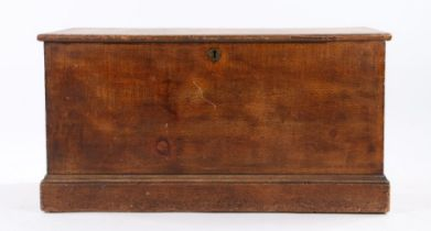 19th Century scumbled pine blanket box, the hinged lid opening to reveal a lidded candle box, on a