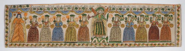 19th century Swedish Bonad or wall decoration, depicting the Parable of the Ten Virgins/Parable of