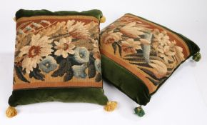 A near pair of cushions of Aubusson tapestry, of floral design set within green cotton velvet,