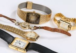 Five ladies quartz and manual wound wristwatches, to include examples by Lorus, Citizen, Timex,
