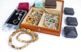 Collection of costume jewellery to include a paste and black stone necklace and various other pieces