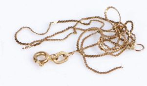 9 carat gold chain link necklace AF, gross weight 0.8 grams