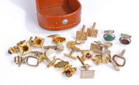 Collection of cuff links housed in a leather box (Qty)