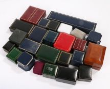 Collection of jewellery boxes some named to include leather clad ring boxes and various others (