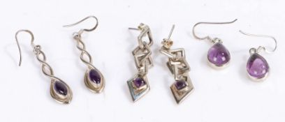 Three pairs of silver and amethyst earrings, gross weight 18.4 grams (6)