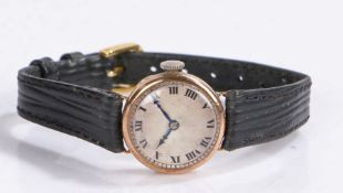 Ladies 9 carat gold wristwatch, the silver dial with Roman numerals, manual wound, the case 21.5mm
