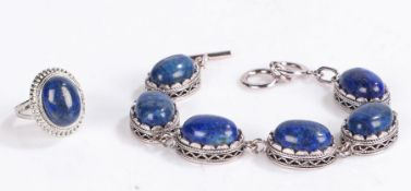 Lapis lazulibracelet, the six oval stones set on white metal together with a lapis lazuli ring (2)