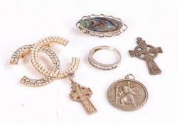 Collection of silver and white metal objects to include two silver crosses, silver and paste ring,