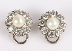 Pair of paste and pearl earrings arranged in the form of a flower (2)