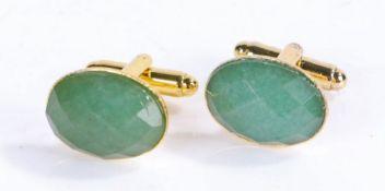 Pair of jade cuff links (2)