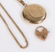 9 carat gold necklace, 53cm long together with a 9 carat gold heart shaped lock and a gold plated