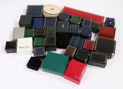 Collection of jewellery boxes some named to include leather clad ring boxes Ernest Jones bracelet