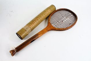 Early 20th century wooden tennis racket, by J.H. Prosser & Sons, together with Edwardian